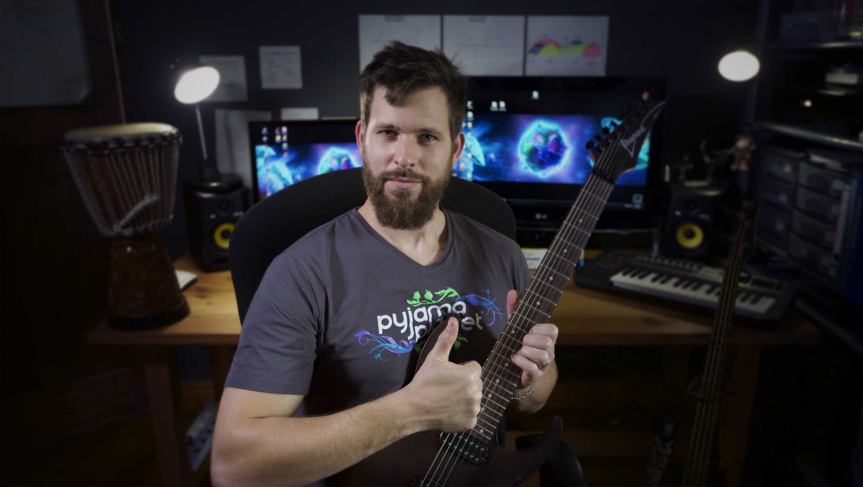 Mark Allnutt in Studio Pyjama Planet Music Production Composition Online Library Record Comissioned Artist Composer Rock and Roll Orchestal Ambient Video Game Metal Film Game Indie Gamedev Symphonic